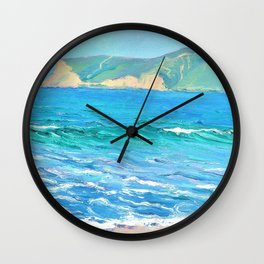 Seascape with distant headlands - Louise Upton Brumback Wall Clock