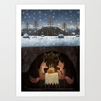 foxes Art Prints featuring Winter Foxes by Chuck Groenink