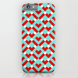Graphic Hearts Pattern (Christmas Candy Color Palette) iPhone Case