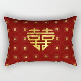 Gold Double Happiness Symbol in heart shape Rectangular Pillow