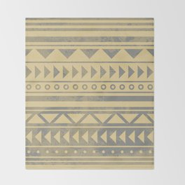 Ethnic geometric pattern with triangles circles and lines Throw Blanket