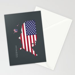 Modern Map - United States of America USA Stationery Cards