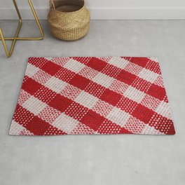 Red checkered fabric tablecloth pattern texture background diagonal view, red checkered fabric closeup , tablecloth texture macro view Rug