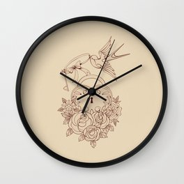 Old school True Love Lock and Key line work tattoo Wall Clock