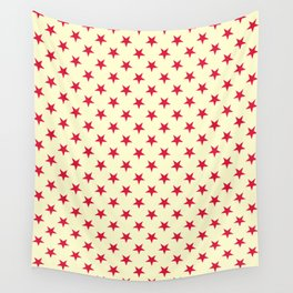 Crimson Red on Cream Yellow Stars Wall Tapestry