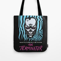terminator Tote Bags featuring The Terminator by Daniel Grushecky