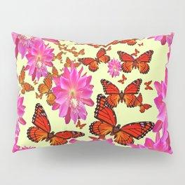 Pink Cactus Flower Butterfly Grey-Cream Wreath Pillow Sham