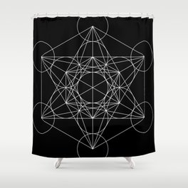 Metatron's Cube Black & White Shower Curtain