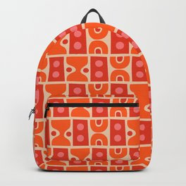 Mid Century Abstract Pattern Orange & Red Backpack