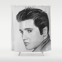 elvis Shower Curtains featuring ELVIS by ART FEEDS HUNGER
