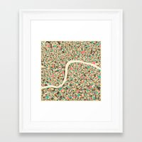 london map Framed Art Prints featuring LONDON MAP by Jazzberry Blue