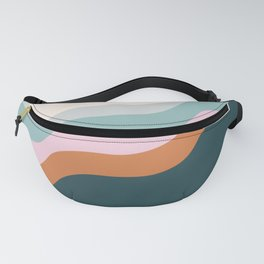 Abstract Diagonal Waves in Teal, Terracotta, and Pink Fanny Pack