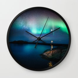 Aurora Borealis Over Coastal Waters Wall Clock