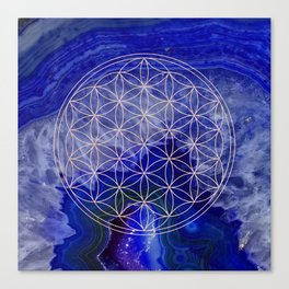 indigo agate with rose gold flower of life Canvas Print