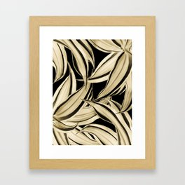 Dracaena Tropical Leaves Pattern Gold Black #2 #tropical #decor #art #society6 Framed Art Print