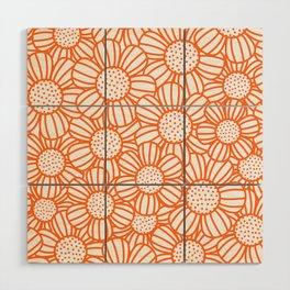 Field of daisies - orange Wood Wall Art