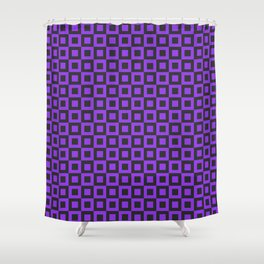 PURPLE AND BLACK SQUARES Shower Curtain