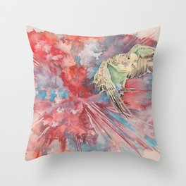A Parakeet Breaks Through the Barrier Throw Pillow