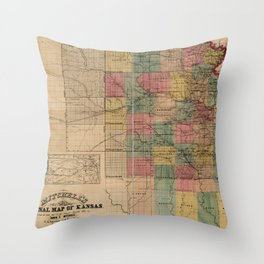 Mitchell's Sectional Map of Kansas (1859) Throw Pillow
