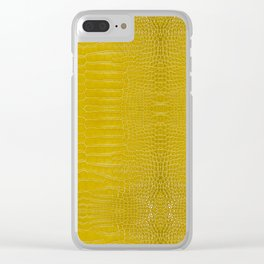 Yellow Alligator Leather Print Clear iPhone Case
