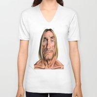 iggy V-neck T-shirts featuring Celebrity Sunday ~ Iggy Pop by rob art | illustration