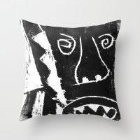 bull Throw Pillows featuring Bull by Hadar Geva