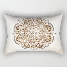 Mandala Brown Floral Moroccan Pattern on Beige Background Rectangular Pillow