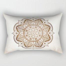Mandala Brown Floral Moroccan Pattern on Beige Background Rectangular Pillow