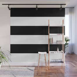 Even Horizontal Stripes, Black and White, XL Wall Mural