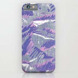 Lovely lino printing in pink, purple, white and grey iPhone Case