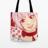 madoka Tote Bags featuring Madoka Pink by The Art of Leena Cruz :)