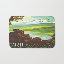Earth Retro Space Poster Bath Mat