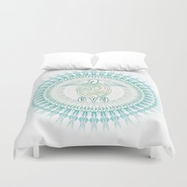 Turquoise Green Turtle And Mandala Duvet Cover