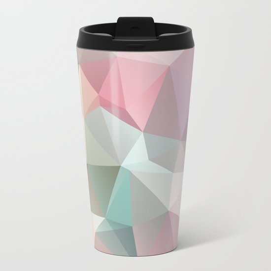 Abstract triangles polygonal pattern Metal Travel Mug