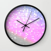 pixel Wall Clocks featuring Pink Lavender Gray Pixels by Whimsy Romance & Fun
