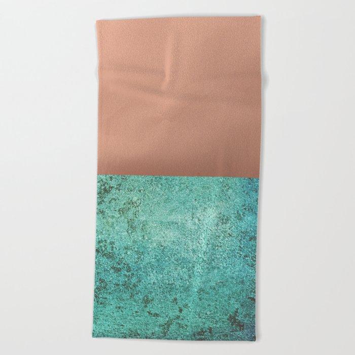 NEW EMOTIONS - ROSE & TEAL Beach Towel