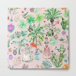 Frida's Botanics - Pink Metal Print