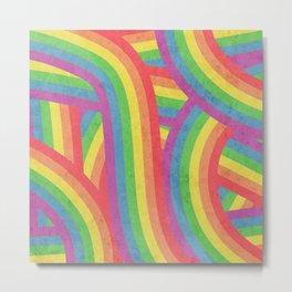 Faded Retro Rainbow Stripes Pattern Metal Print