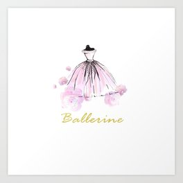 Flowers And Rosy Ballerina Art Print