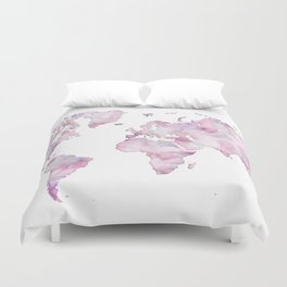Lavander and pink watercolor world map Duvet Cover