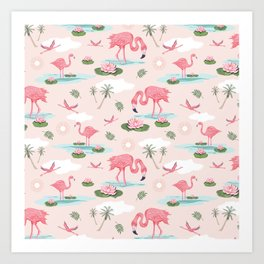 Flamingos and waterlilies Art Print