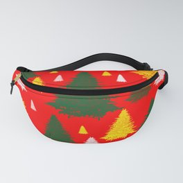 green gold silver Christmas trees on red background Fanny Pack
