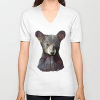 woodland V-neck T-shirts featuring Little Bear by Amy Hamilton