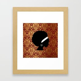 African Amerian Woman on Red and Gold Damask Framed Art Print