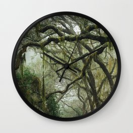 Southern Live Oaks and Spanish Moss Wall Clock