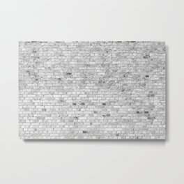 White Washed Brick Wall - Light White and Grey Wash Stone Brick Metal Print