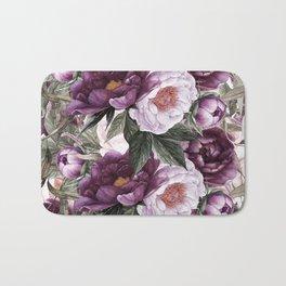 Purple Plum Pink Watercolor Peonies and Greenery Bath Mat
