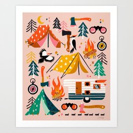 Camping Kit – Blush Palette Art Print