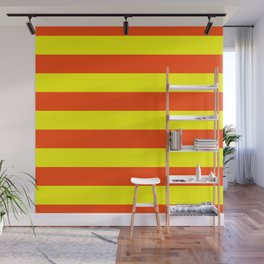 Bright Neon Orange and Yellow Horizontal Cabana Tent Stripes Wall Mural