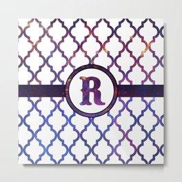 Galaxy Monogram: Letter R Metal Print
